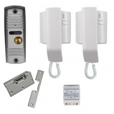 Audio Door Entry Intercom Kit with Yale Type Lock Release - 2 Handsets
