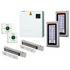 Interlock Airlock Keypad Access Control Door Entry Kit with Power Supply,  Maglocks and Request to Exit Buttons