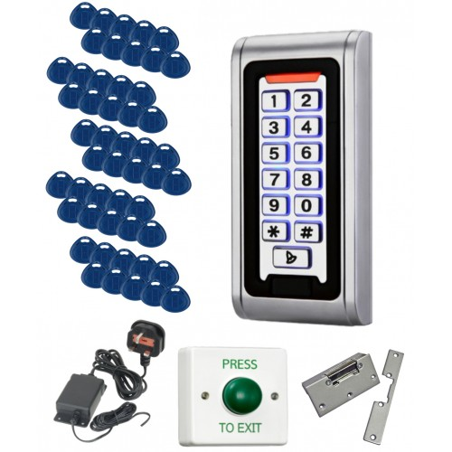 Weatherproof Proximity Code Access Control Kit with 50 Fobs