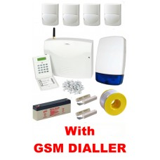 Wired Intruder Burglar Alarm Kit with LCD Keypad, QUAD Element PIRs and GSM SMS Dialler