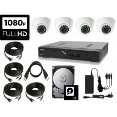 PROFESSIONAL HIGH DEFINITION 1080P CCTV Kit with 4 Weatherproof IR Dome Cameras, DVR, 1TB HDD, PSU & Connecting Leads