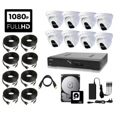 PROFESSIONAL HIGH DEFINITION 1080P CCTV Kit with 8 Weatherproof IR Dome Cameras, DVR, 1TB HDD, PSU & Connecting Leads
