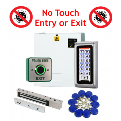 No Touch Entry or Exit - Proximity Code Keypad Access Control Kit with Power Supply and Maglock