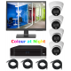"""4 Camera IP CCTV Kit, 2MP Colour Day Night Dome Cameras, Remote Viewing, with 22"""" CCTV Monitor and 20 Meter RJ45 Leads"""