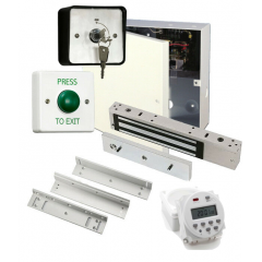 Simple Maglock Door Entry Kit, PSU, Clock, Maglock, Lock Timer, Exit Switch and Z&L Mounting Kit