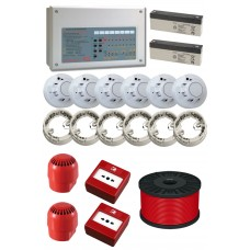 Conventional 2 Zone Wired Professional Fire Alarm Kit with Fireproof Cable